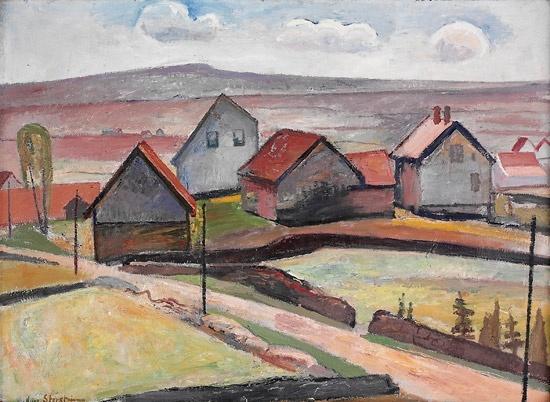 Aage Storstein (1900-1983): Åkerlandskap med hus