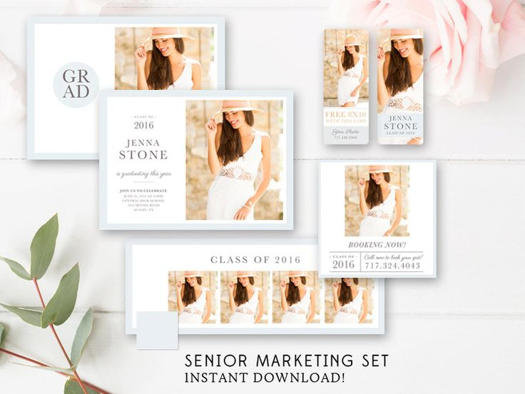 Modern Senior Marketing Set - Senior Announcement Template Girls - Senior Rep Card - Senior Templates - INSTANT DOWNLOAD by ByStephanieDesign on Etsy