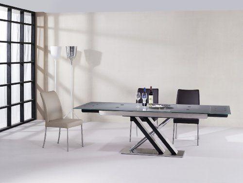 Miraseo MYH1201912 Cedric Esstisch, Eleganter Hochwertiger Esszimmer Tisch,  Küchentisch Aus Sicherheitsglas/rostfreier Stahl In Farbe Klar, Edles  Design Und ...
