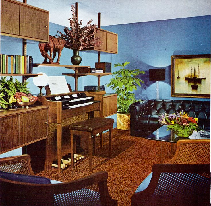 theswingingsixties 1960s interior design  with featured electric organ  1960s  Retro home