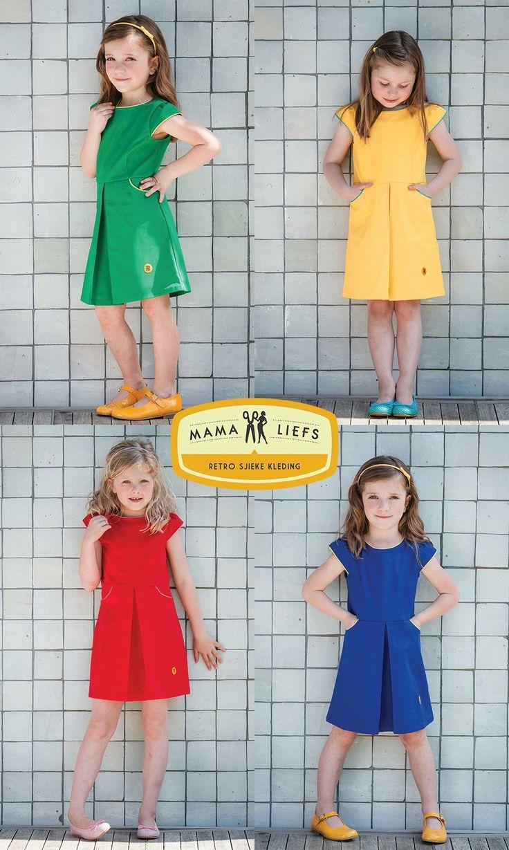 De vierluik van model 'Roos' in groen, geel, rood en blauw. Welke vind je het leukste?  #kinderkleding #retro #zomerjurkjes #ouders #parents #dresses #kids #green #groen #yellow #geel #red #rood #blue #blauw