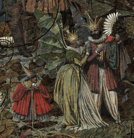 Detail from The Fairy Feller's Master-Stroke by Richard Dadd ~ Queen of the fairies Mab with her rival monarchs Oberon and Titania - c.1855-64. From: Richard Dadd's Master-Stroke | The Public Domain Review
