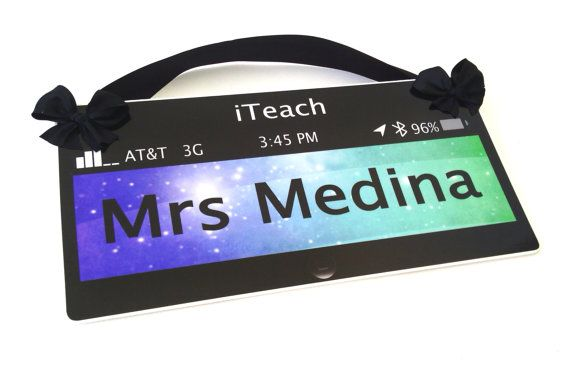 technology themed classroom door sign – personalized teacher gift wall plaque – P364