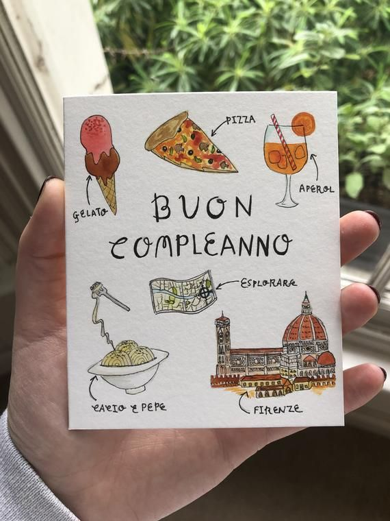 Buon Compleanno Card Italian Happy Birthday Firenze Etsy Birthday Card Drawing Happy Birthday Cards Cards