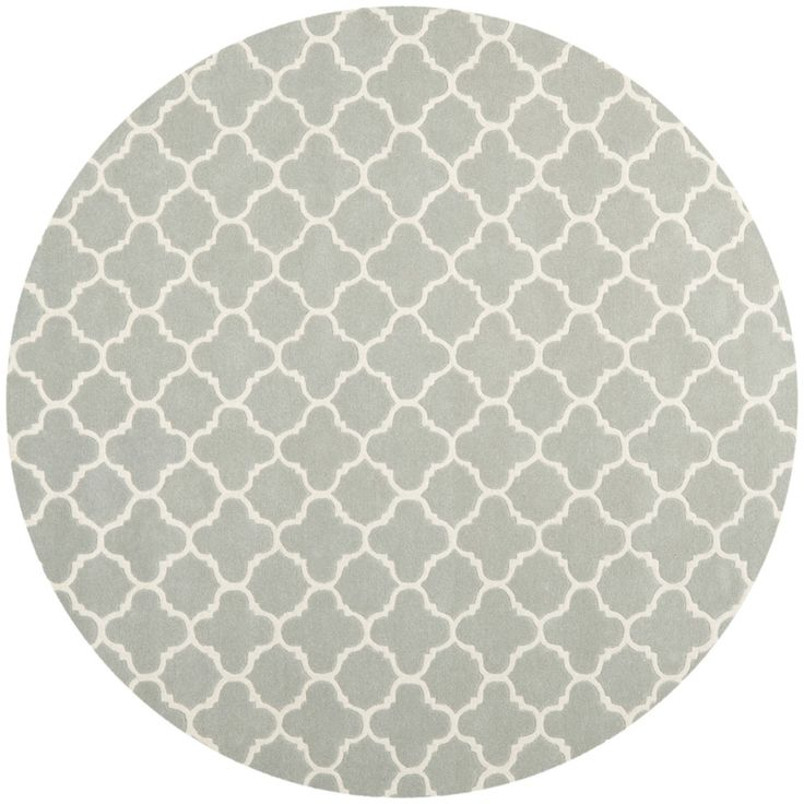 Safavieh Handmade Moroccan Chatham Grey/ Ivory Wool Rug (9u0027 Round)  (CHT717E 9R), Size 9u0027 X 9u0027