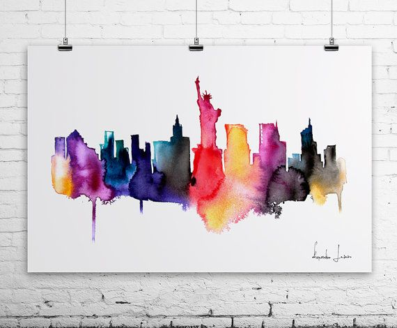 New York City Watercolor Painting Art Print Artistic