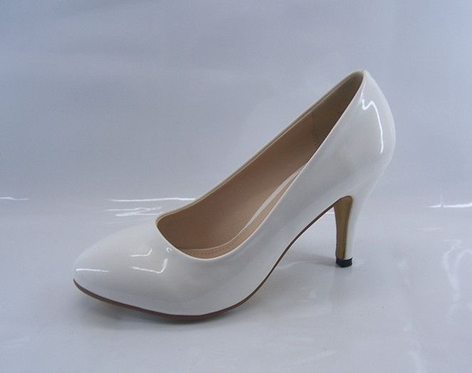 Ladies Womens Mid Heel Court Shoe / Office / Formal Shoes - White