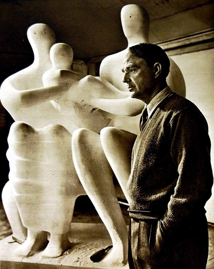 """1949 Photograph of British sculptor Henry Moore. -""""The creative habit is like a drug. The particular obsession changes, but the excitement, the thrill of your creation lasts."""""""