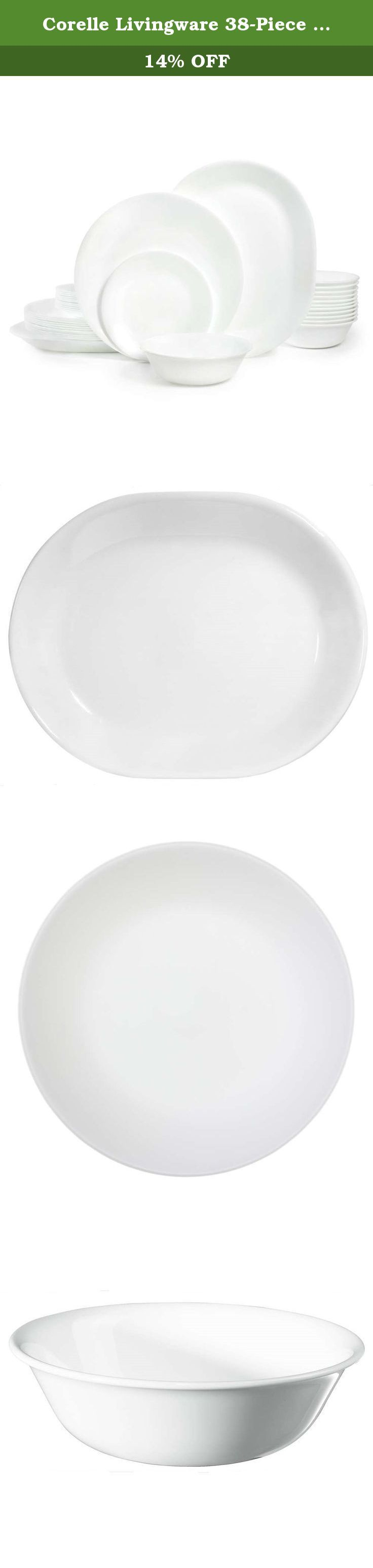 Corelle Livingware 38-Piece Dinnerware Set, Winter Frost White, Service for 12. It's a white-out on your table and it's something to cheer about! With Corelle Winter Frost White dinnerware, you create a table setting that can change on a whim or with the seasons. simply by changing up your table accessories. You'll love the resiliency of Corelle dinnerware.