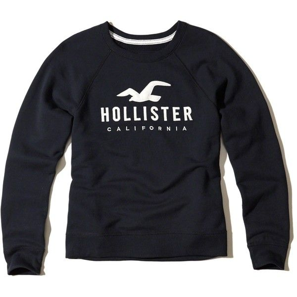 Hollister Logo Graphic Crew Sweatshirt ($30) ❤ liked on Polyvore featuring tops, hoodies, sweatshirts, navy, graphic sweatshirts, logo sweatshirts, navy crew neck sweatshirt, blue top and graphic crew neck sweatshirts