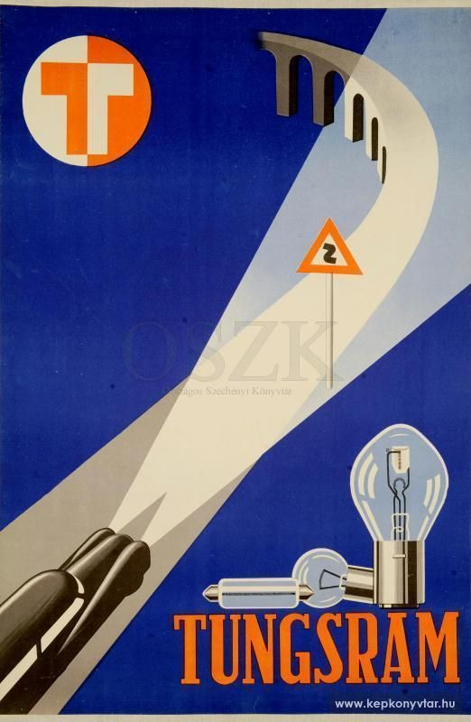 Tungsram vintage headlamp light bulb advertising poster