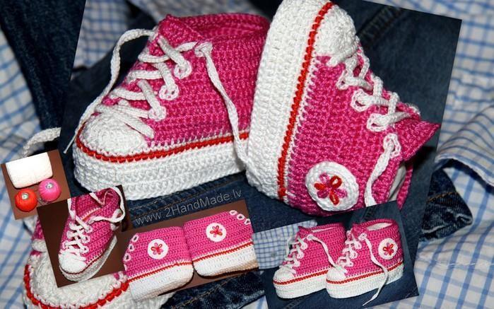 Детская обувь вязаная крючком кеды