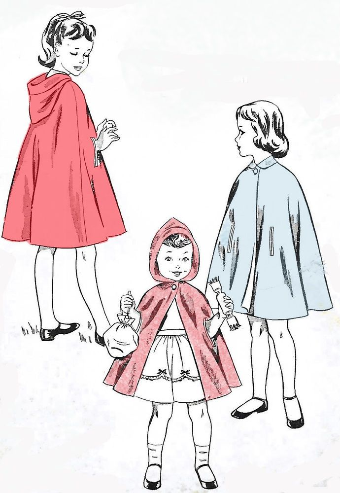 Vintage 1950\'s Sewing Pattern Child\'s Cape Little Red Riding Hood ...