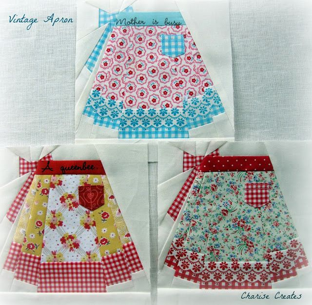 Retro Apron paper pieced pattern-