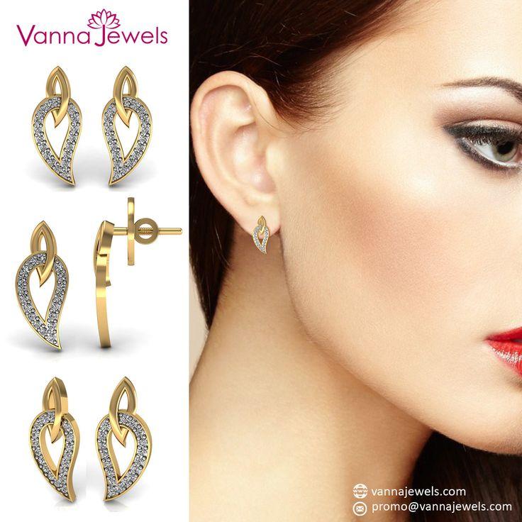 Women's Designer Daily Wear Stud Earrings Set in Solid Yellow Gold Certified Diamond Authentic Jewelry