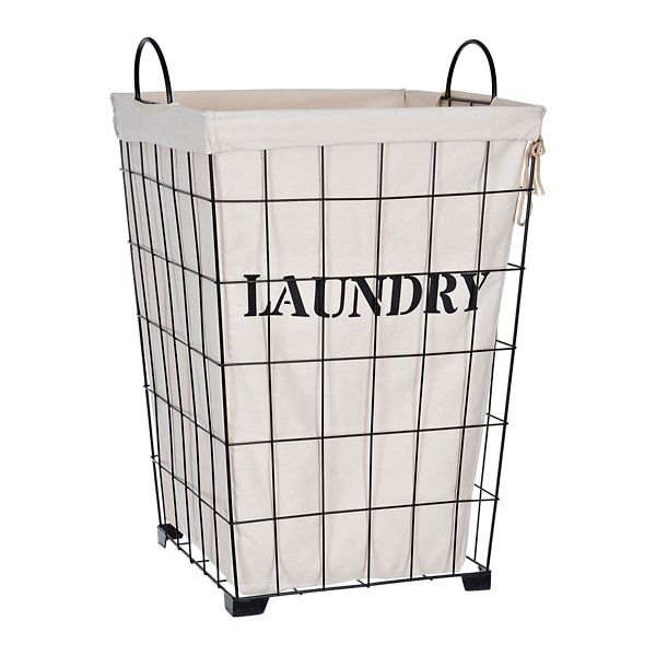 Metal And Fabric Retro Laundry Bin Wire Laundry Basket Laundry