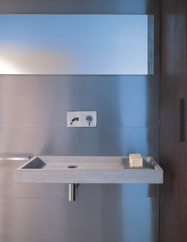 Cement washbasin Elle 90x45x9 available in white, black , sand, light grey, tobacco and violet