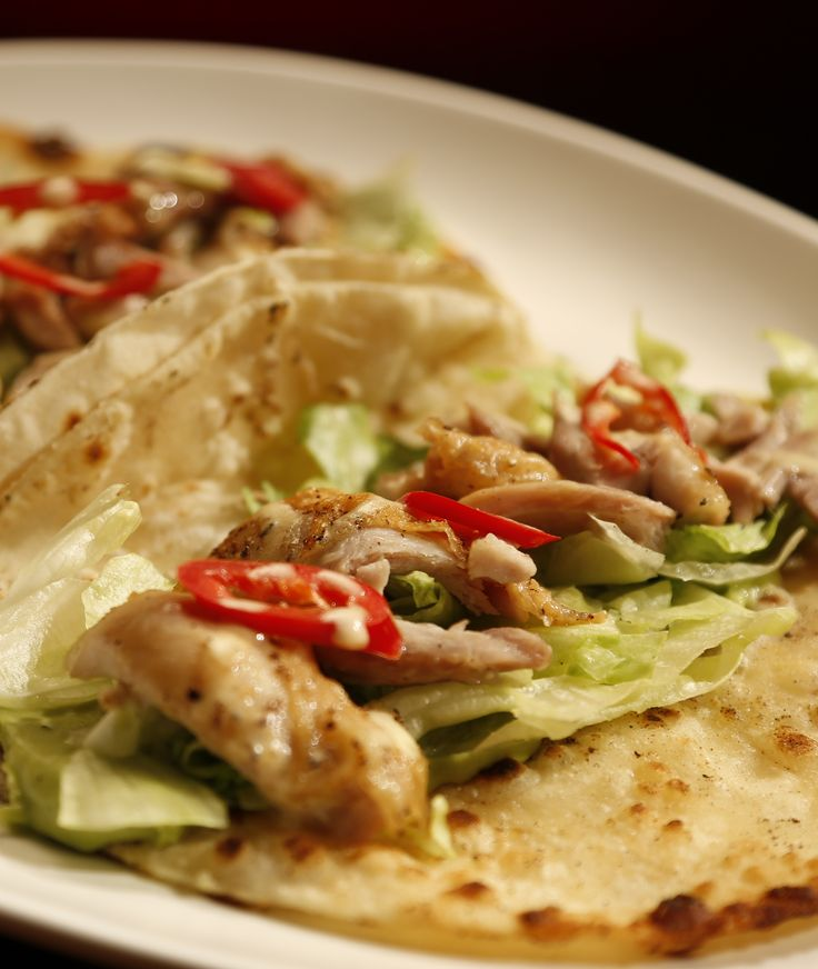 Sam and Chris' easy chicken tacos with avocado mousse from S4 of MKR: http://gustotv.com/recipes/lunch/chicken-tacos-avocado-mousse/