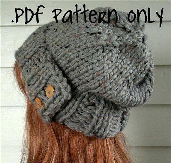 Knit Hat Pattern, Instant Download Knitting Pattern, Easy Slouchy Beanie Beret, Chunky, winter, ski, urban, boho, vegan, teen
