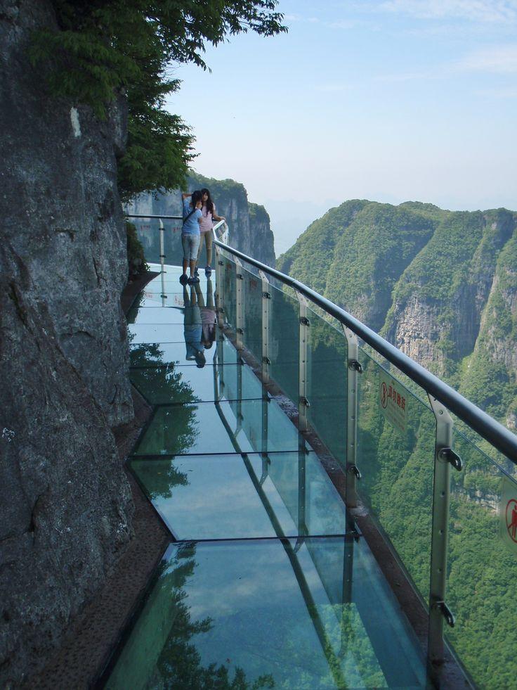Dangerous glass walkway on Tianmen Mountain - Hunan, China