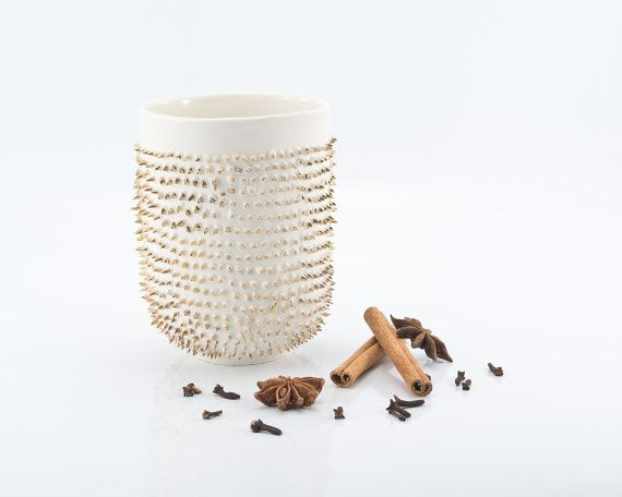 Porcelain Mug Decorated with Genuine Gold  by KinaCeramicDesign