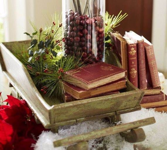 Cool Wood Santa Wagon, Old Books, And Greenery With Red Berries For Nice  Simple Christmas Holiday Tablescape . Part 82