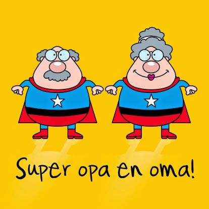 Klaskoffer: Super opa en oma! met blad die oma of opa moet invullen