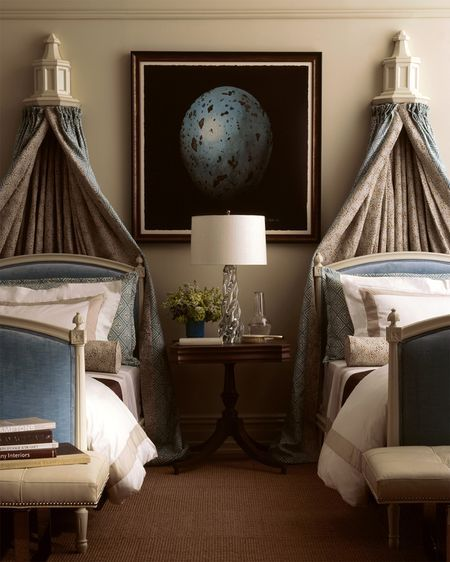 Gorgeous textures, clean hotel-inspired lines with the softness of antiques. Lovely, lovely!