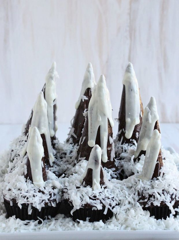 Cake Icing With Mountains And Snow Scene