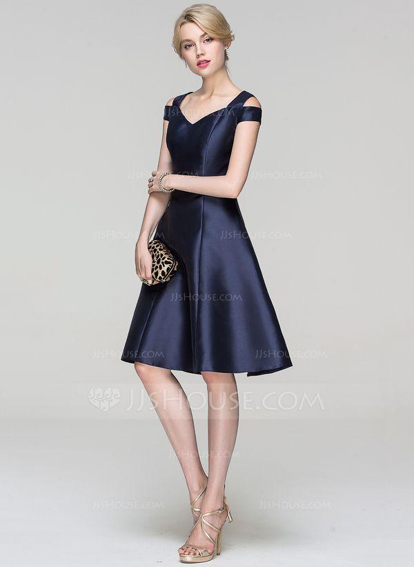 f335c9c48c A-Line Princess Off-the-Shoulder Knee-Length Satin Cocktail Dress ...