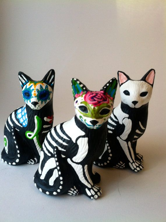 Day Of The Dead Cat Sculpture Hand Painted Cat By