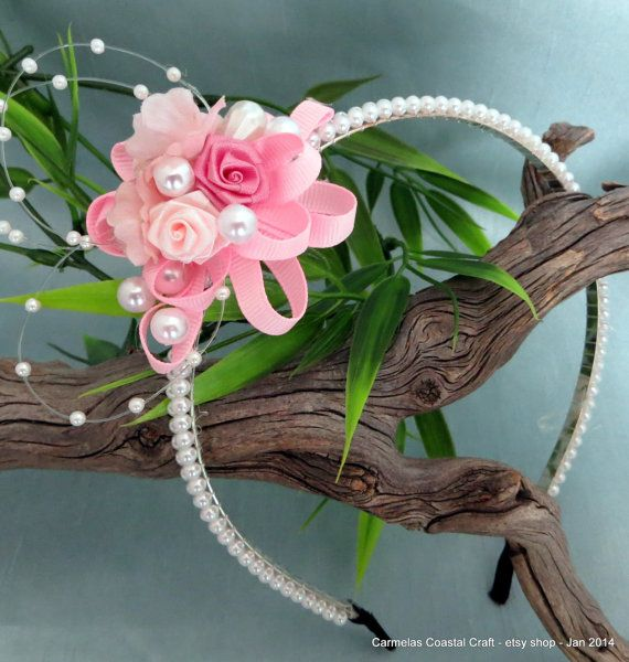 Pink Floral and pearl head band for by CarmelasCoastalCraft,   #pinkweddings#pearl headband