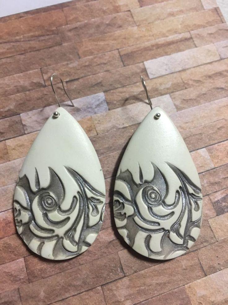 Handcrafted Polymer Drop Earrings Bone And Silver Metallic Tear Drop Leaf Carvin  | eBay