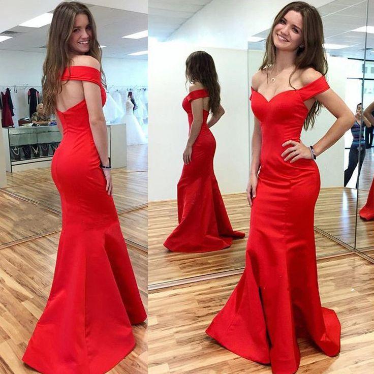Red Mermaid Prom Dress, Charming Prom Dresses,Off-shoulder Prom Dress,Long Evening Dresses,Prom Dresses,f045 on Storenvy