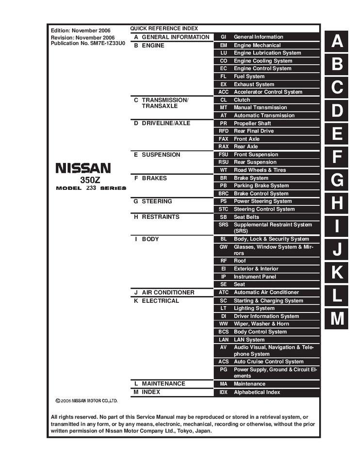 Nissan 350Z 2003-2007 Full Repair Service Manual Download