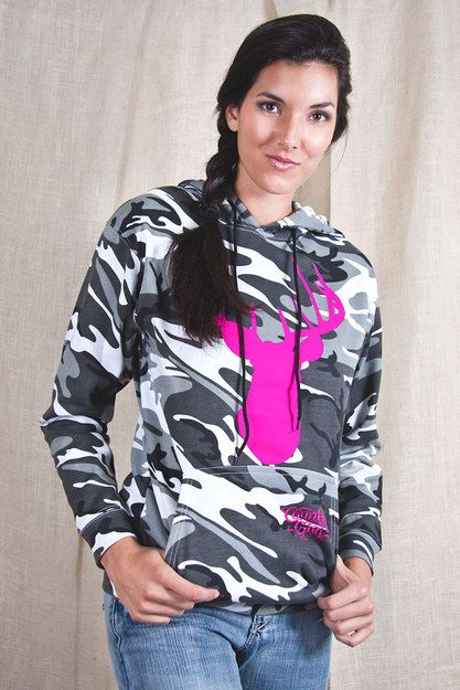 FRONT VIEW - Women's Country Girl ® Deer Head Camouflage Hoodie