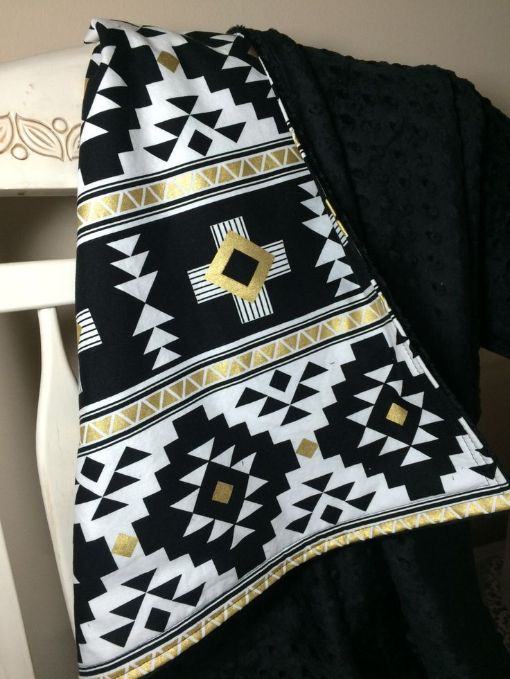 Black White Aztec Baby Blanket Crib Quilt Crib Blanket Crib Bedding Monochrome Nursery Black White Metallic Gold by ColorCornerShop on Etsy https://www.etsy.com/listing/264343575/black-white-aztec-baby-blanket-crib