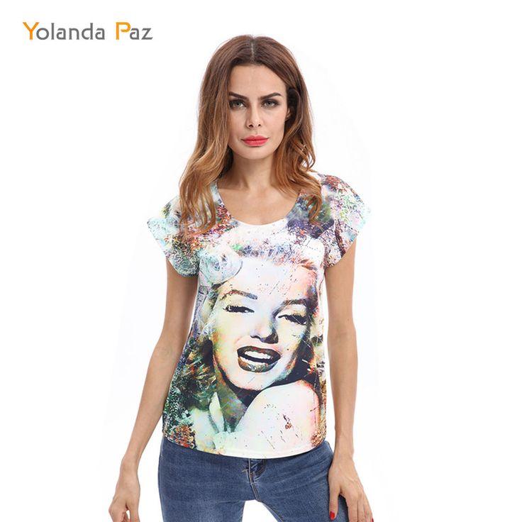 >> Click to Buy << Yolanda Paz 2017 Brand New Arrival Women Summer  t-shirt Casual Short Sleeve Marilyn Monroe Face Print T-shirt female tops tees #Affiliate
