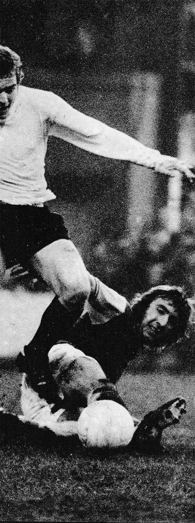 16th December 1972. West Ham United all action midfielder Billy Bonds tackling Stoke City and Wales star John Mahoney, at White Hart Lane.