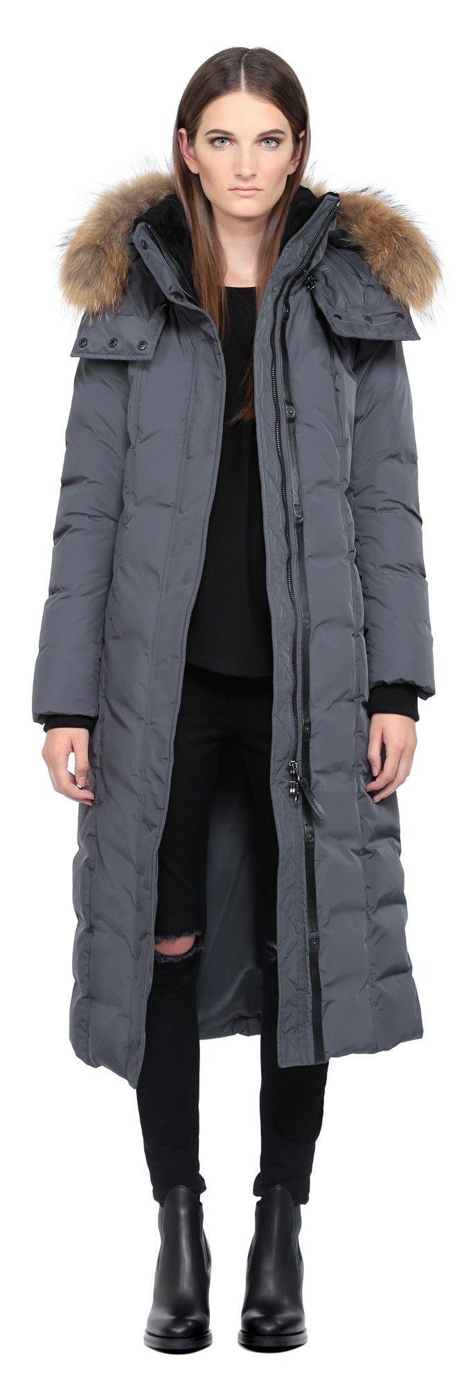 Women Mackage Charcoal Long Down Coat With Fur Hood Adtnvsf