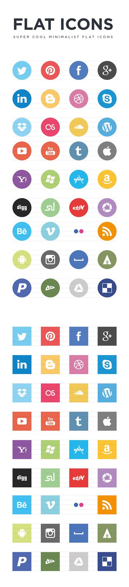 Free Super Cool Minimalist Flat Social Icons via Web Design Freebies