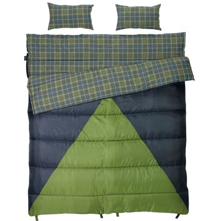 Slumberjack (cutest name ever, right?) sells this two person sleeping bag that can unzip into two separate bags: a colder weather one used as the pad in the double, and a warmer one that's the blanket. What a fantastic and versatile purchase at just $140...amazing! That's just 70 per bag.