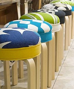 Judy Ross Textiles : collaboration with Artek to upholster this iconic stool in our chain stitch fabric #artek #homedecor #judyrosstextiles #stools