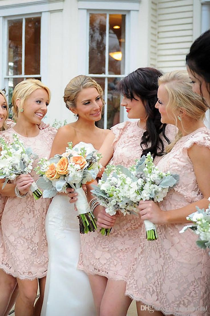 Elegant Pink Lace Bridesmaid Gowns Short Mini Open Back Ivory Coral Yellow Royal Blue Lavender Purple Green Bridesmaid Dresses Party Dress