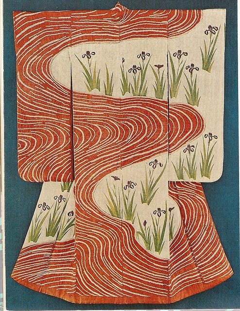 Kosode. Designs of Irises by a Stream.
