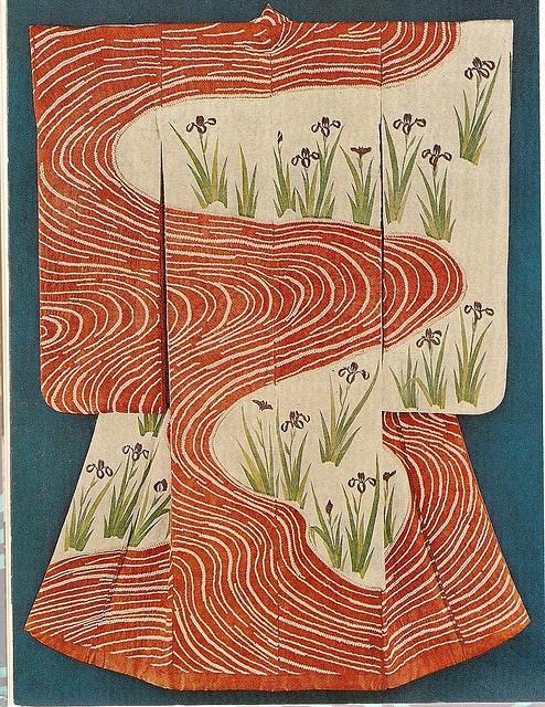 Kosode. Designs of Irises by a Stream. White Figured Satin. Circa 17th to 18th Century (Mid-Edo Period). Nagao Art Museum, Tokyo.