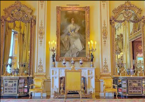 Buckingham Palace, White State Room - massive mirror and cabinet to left of fireplace is actually a huge hinged secret doorway to Queen's private quarters