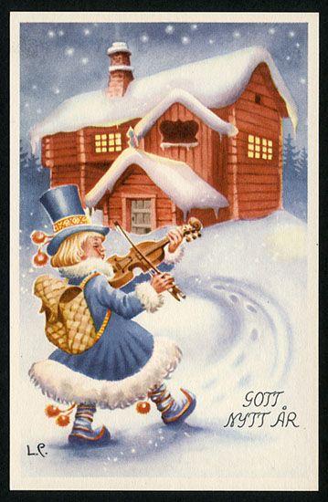 Nyårskort av Lars Carlsson. Från 1950-talet.