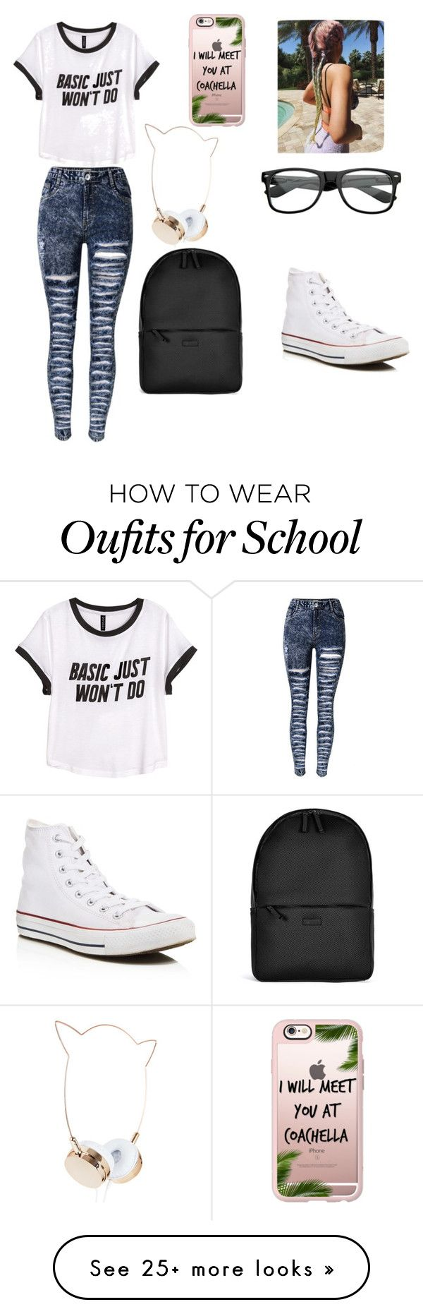 """School "" by ana-zelic on Polyvore featuring H&M, Converse, Casetify and Rains"