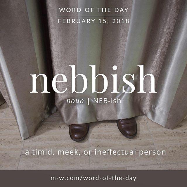 Today's #wordoftheday is 'nebbish' . #language #merriamwebster #dictionary
